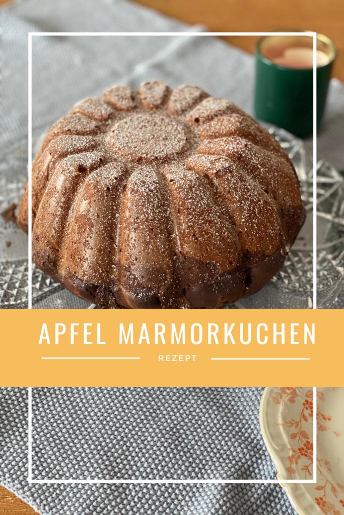 Rezept für Apfel-Marmor kuchen mit Puderzucker Pin